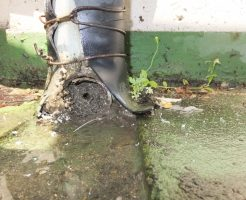 土や泥でパイプ内がパンパンになって詰まっている雨水管