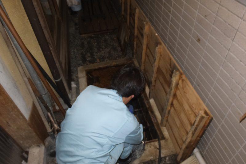 排水管つまり解消高圧洗浄掃除中