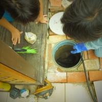 高圧洗浄作業時の説明中