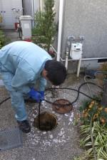 排水配管高圧洗浄,下水詰まり,会所マス沈下