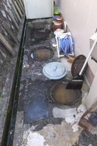 排水マスから溢れかけの状態