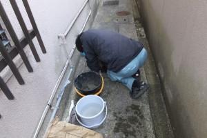排水マス修理作業