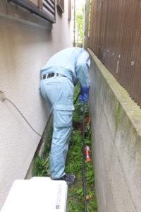排水管詰まり高圧洗浄中