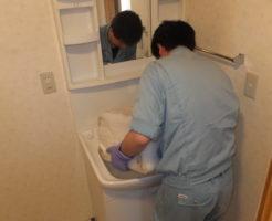 洗面所清掃作業