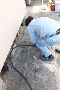 排水桝、排水管高圧洗浄作業中