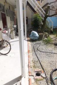生活排水管、下水管の高圧洗浄作業