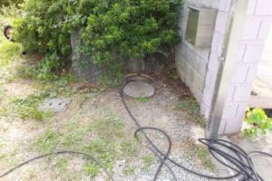 排水マス高圧洗浄作業中