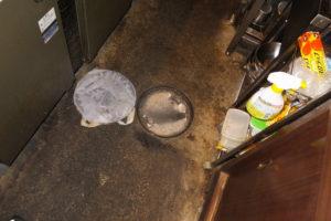 厨房の排水マスが溢れかけている状態