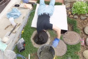 コンクリートマス修理作業中