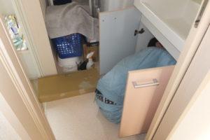 洗面台シングルレバーシャワー水栓取り換え作業中