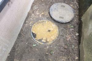 油詰まり状態の排水枡