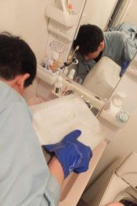 洗面台排水口から薬品清掃