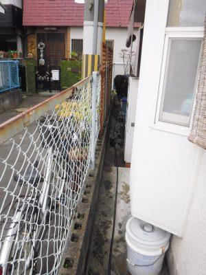 通路の排水管の高圧洗浄