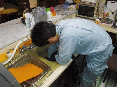 キッチン排水口からの掃除