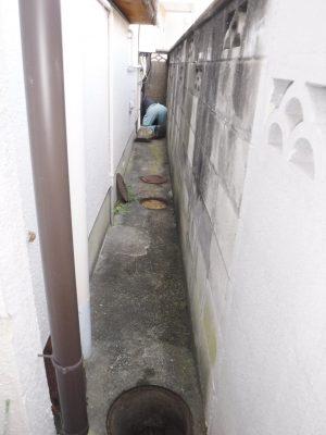 汚水マス水漏れ修理中