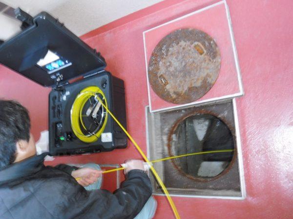 会所マスから管内調査カメラによる配管状態の確認