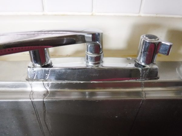 キッチン2バルブ混合水栓の水漏れ修理