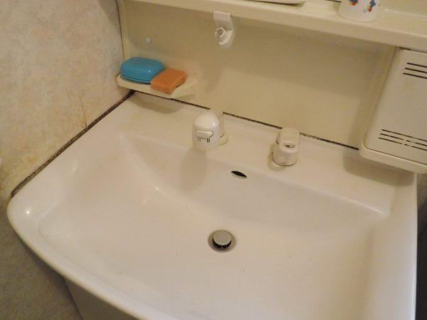 洗面台の周りの目地も黒カビ状態です