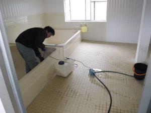 湯舟からの高圧洗浄
