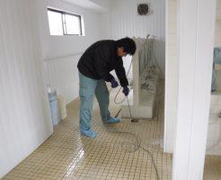 浴場排水口の高圧洗浄
