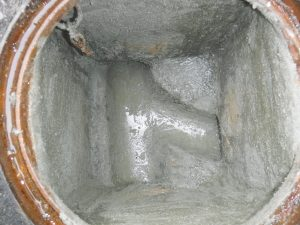 水漏れ修理後の排水マス