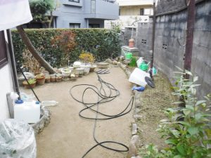 排水管の高圧洗浄中