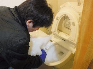 トイレ便器から薬剤清掃中