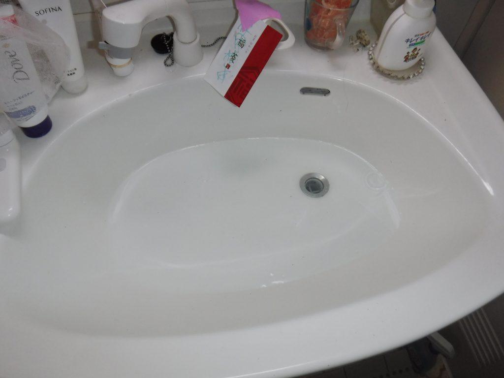 洗面台がつまり水が流れない状態