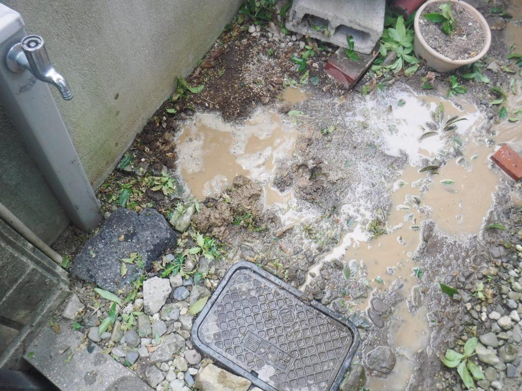 水道水漏れによる地中の漏水