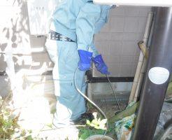 屋外からキッチン排水管高圧洗浄作業
