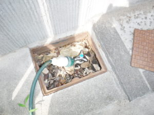 散水栓水漏れ修理前