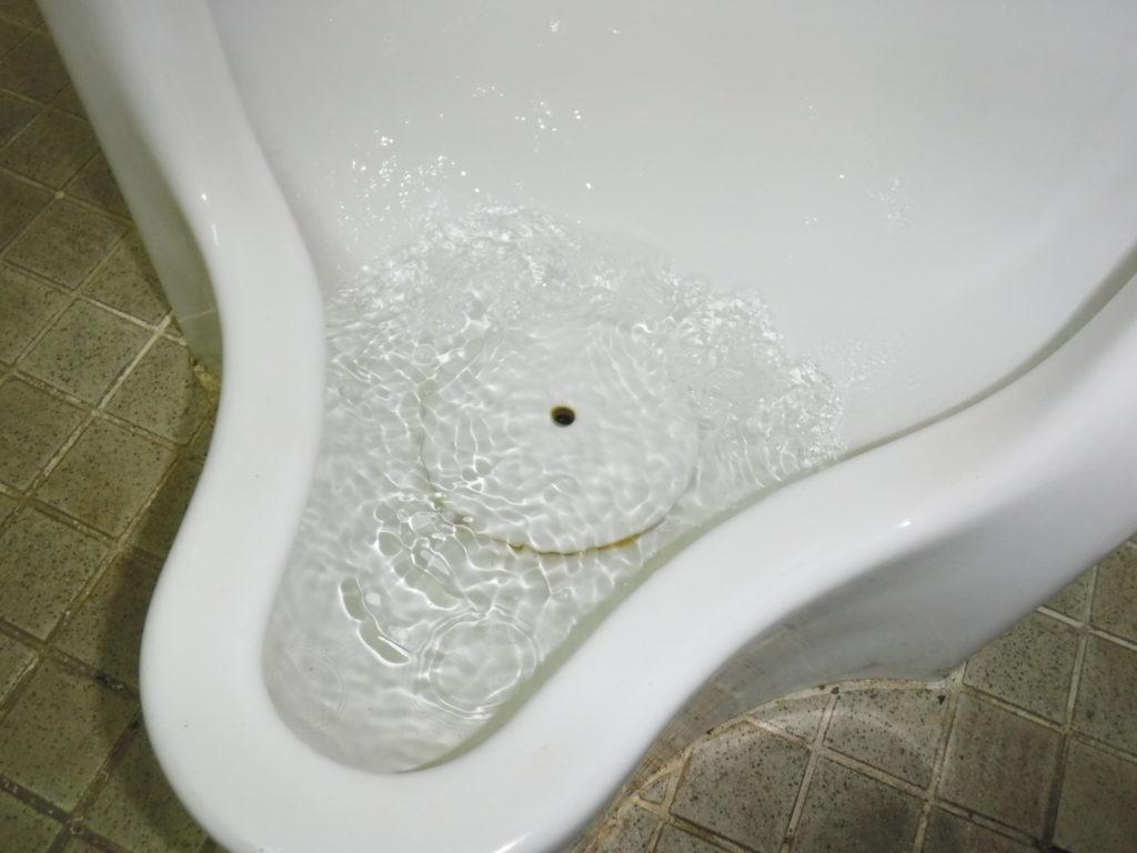 小便器排水管が詰まり溢れそうになる状態