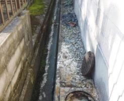排水管で詰まった汚水が溢れかえてt側溝に流れた跡があります