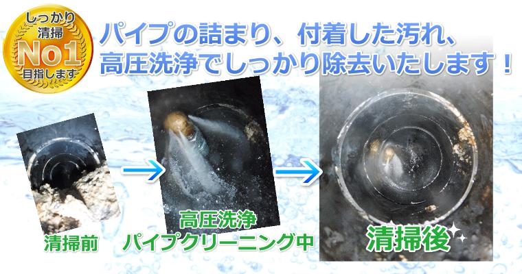 アクアDr.高圧洗浄で排水管の掃除、清掃お任せください!