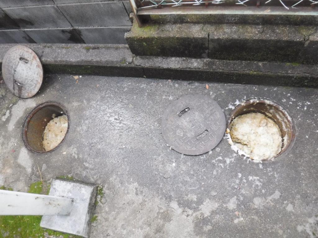 池田市排水管の詰まり高圧洗浄清掃前