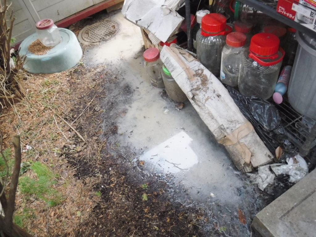 猪名川町での排水管、下水道管に変え詰まり汚水が溢れて逆流、つまり解消高圧洗浄清掃作業前