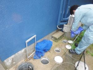 一戸建て外回り排水管高圧洗浄清掃作業