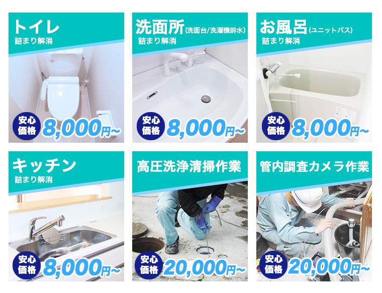 お家の水回り、トイレ、キッチン、風呂、洗面所、高圧洗浄やカメラ調査で作業いたします!