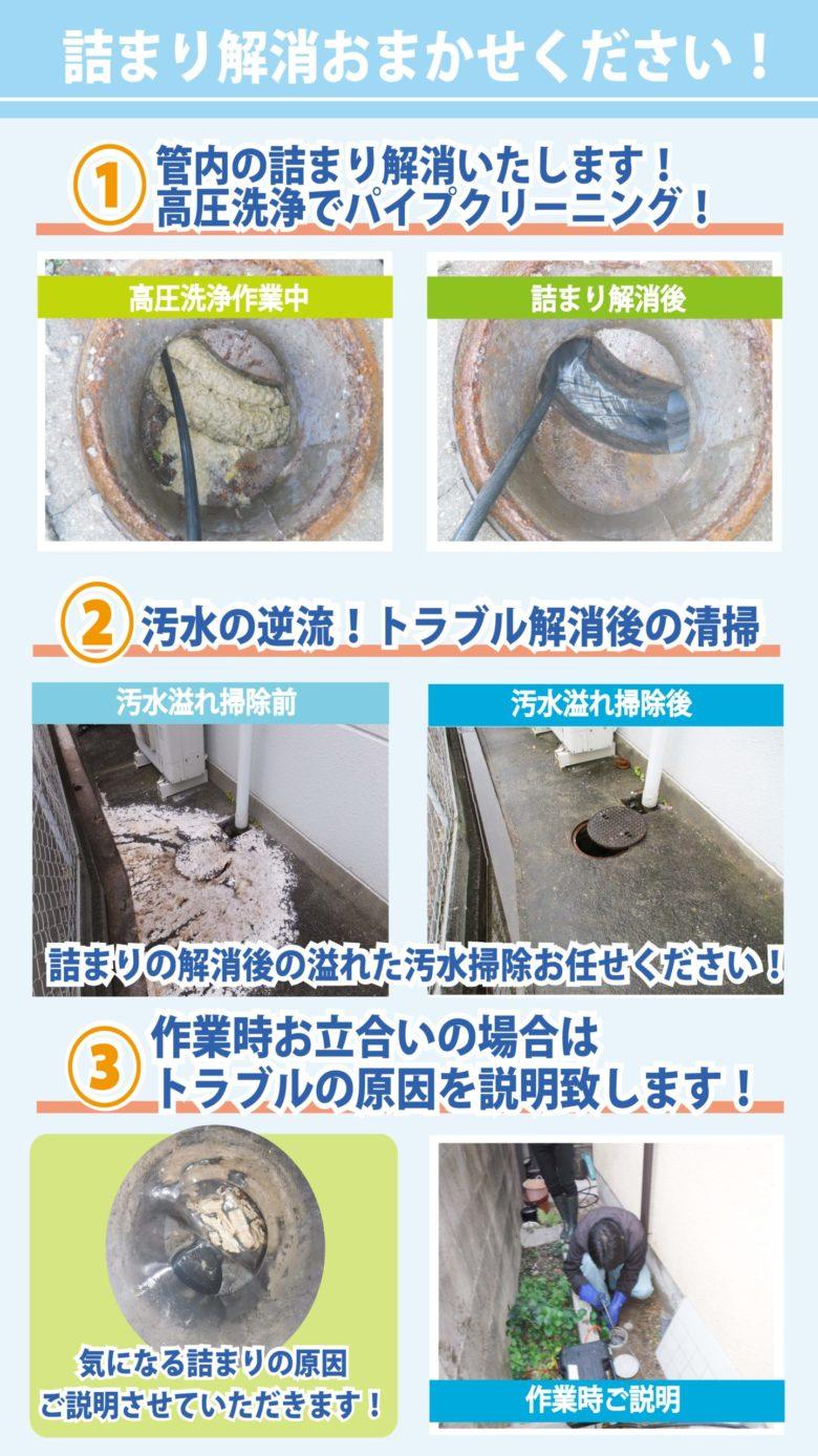 排水管高圧洗浄清掃画像いろいろ