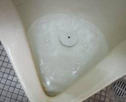 小便器の配管が詰まりかけ水の流れが遅い状態