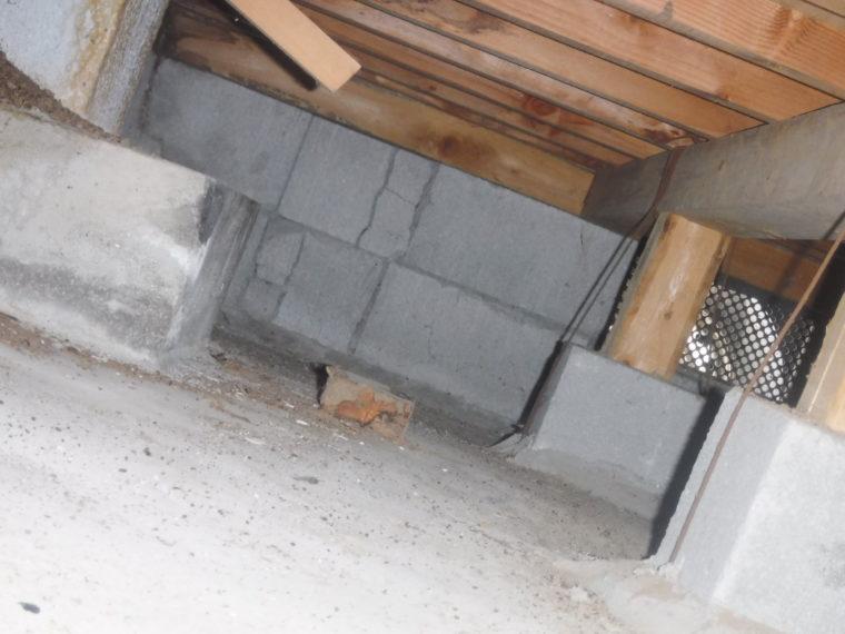 増築のために配管が家の下敷きになっていないか調査の様子