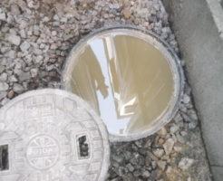 豊中市にて排水がつまり屋外排水設備、パイプ、マスの詰まり修理前